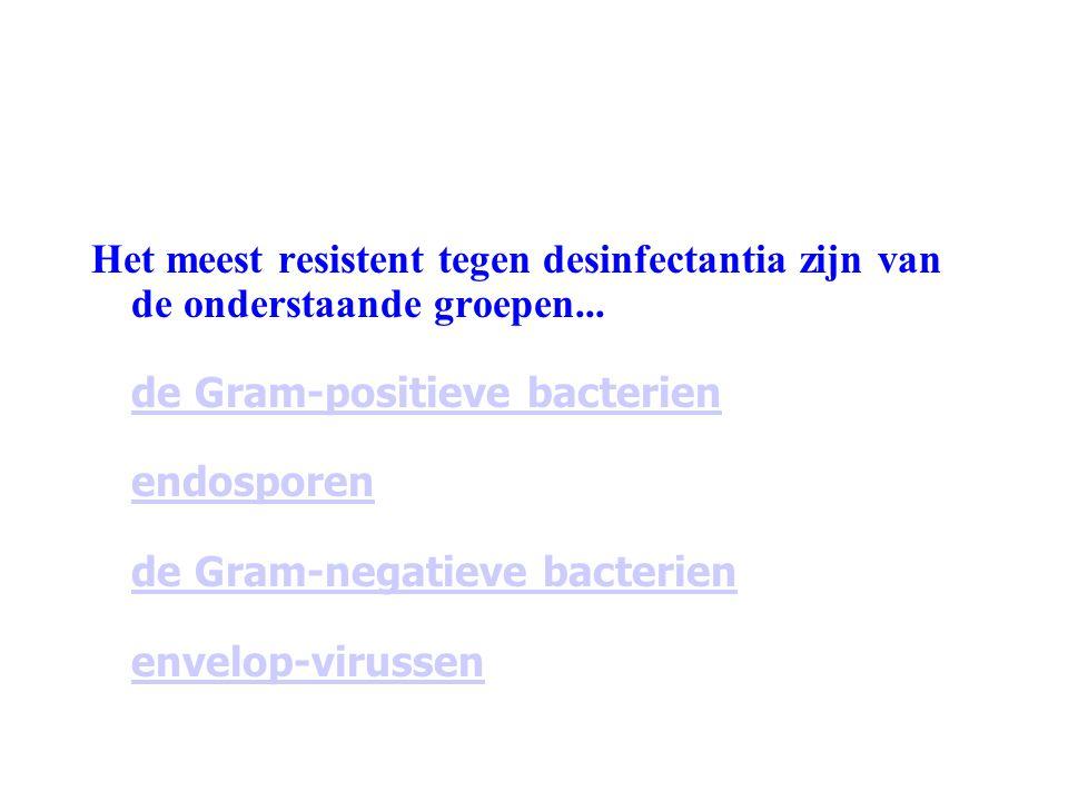 Het meest resistent tegen desinfectantia zijn van de onderstaande groepen...