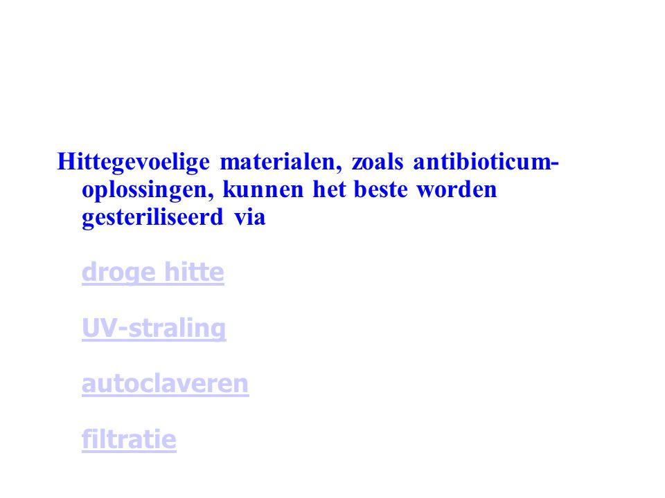 Hittegevoelige materialen, zoals antibioticum-oplossingen, kunnen het beste worden gesteriliseerd via droge hitte UV-straling autoclaveren filtratie