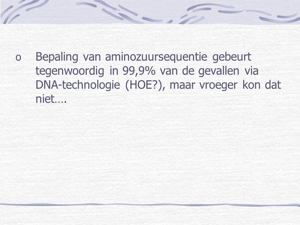 Bepaling van aminozuursequentie gebeurt tegenwoordig in 99,9% van de gevallen via DNA-technologie (HOE ), maar vroeger kon dat niet….