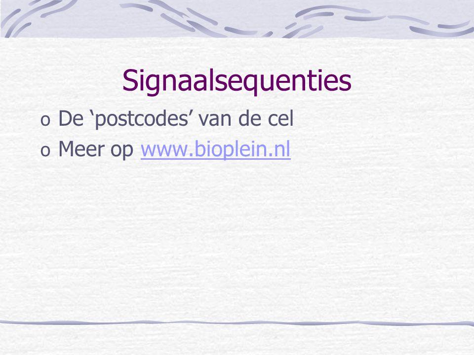Signaalsequenties De 'postcodes' van de cel Meer op www.bioplein.nl
