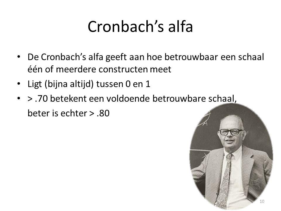 Cronbach's alfa De Cronbach's alfa geeft aan hoe betrouwbaar een schaal één of meerdere constructen meet.