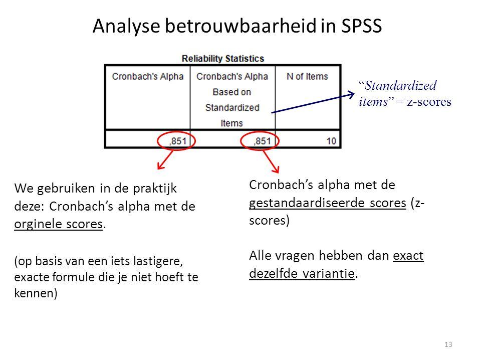 Analyse betrouwbaarheid in SPSS