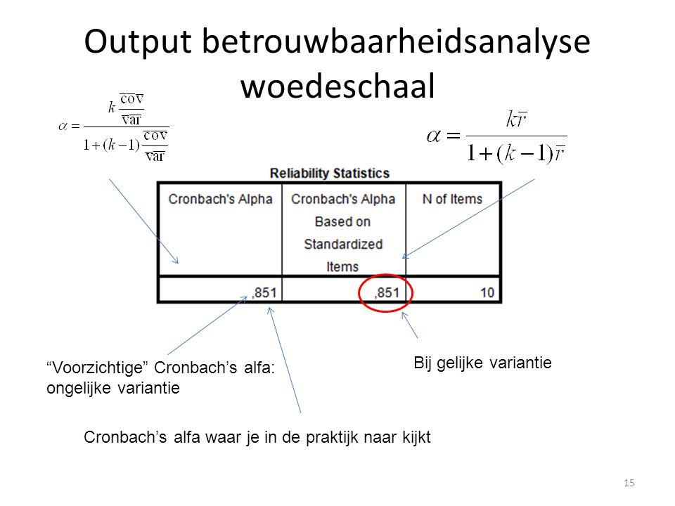 Output betrouwbaarheidsanalyse woedeschaal