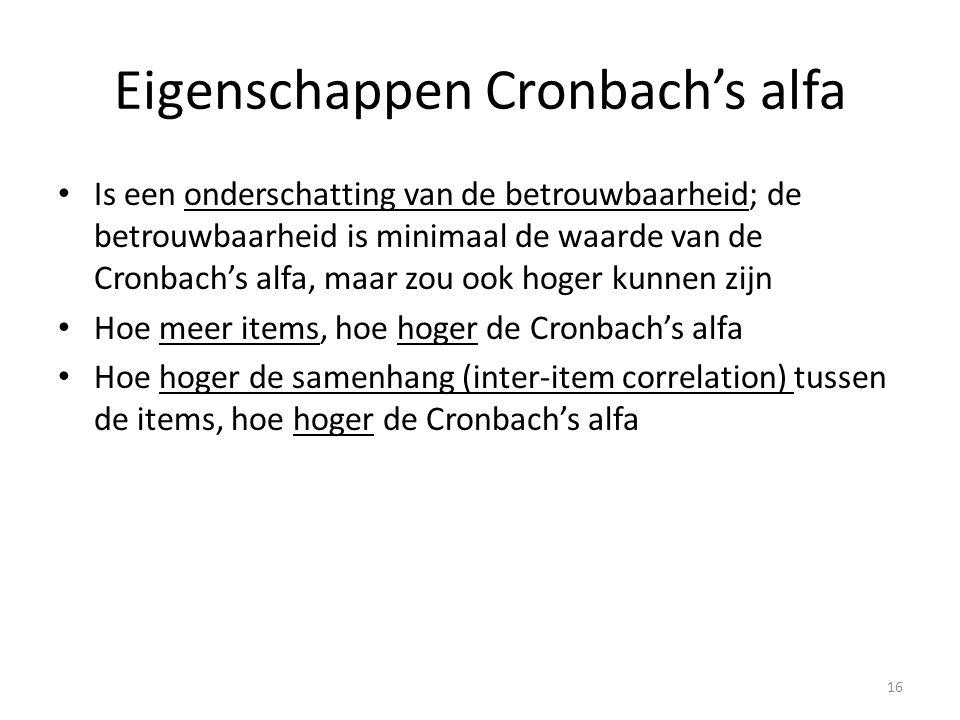Eigenschappen Cronbach's alfa