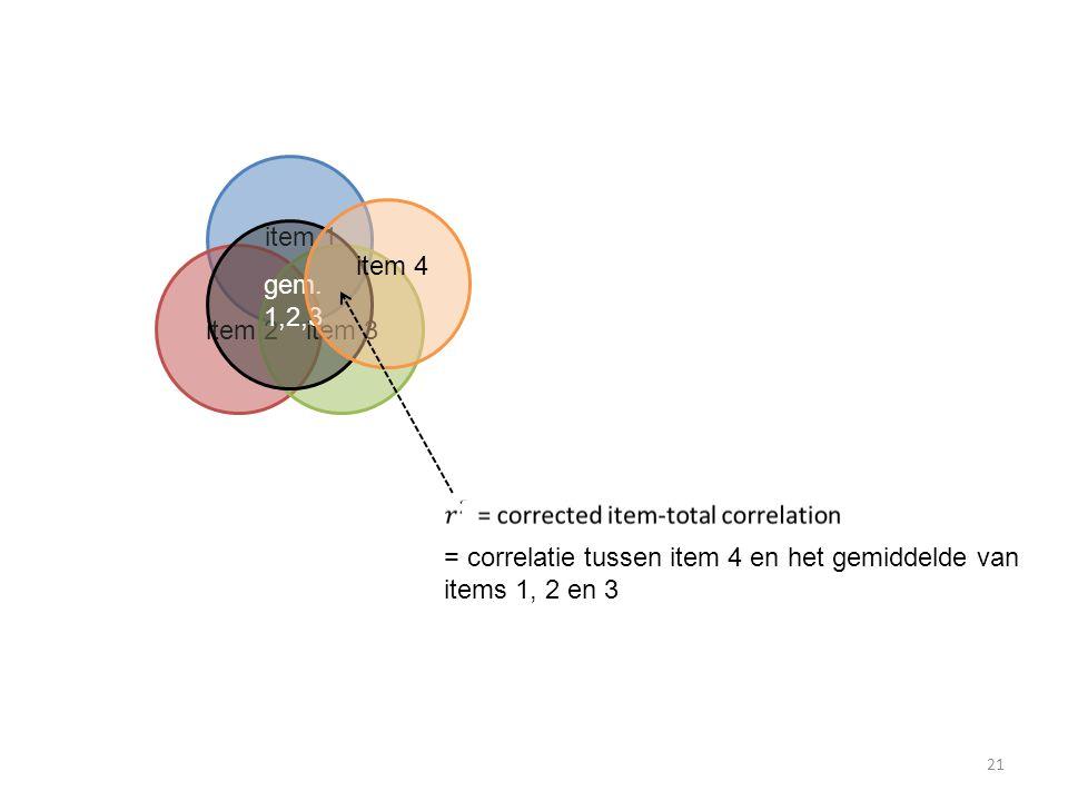 item 1 item 4. gem. 1,2,3. item 2. item 3. = correlatie tussen item 4 en het gemiddelde van.