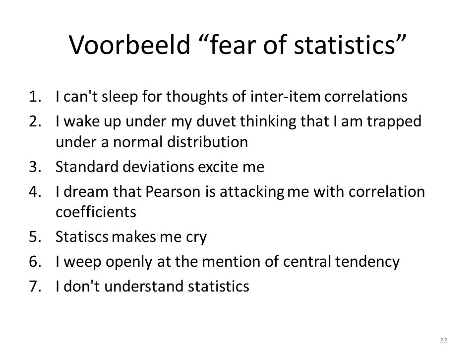 Voorbeeld fear of statistics