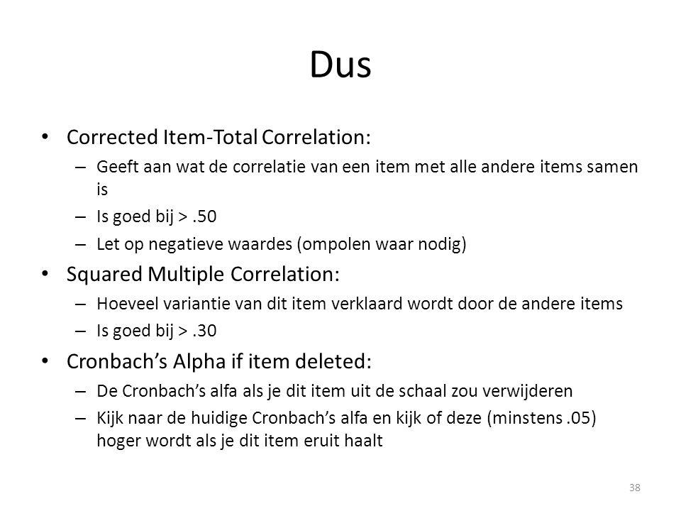 Dus Corrected Item-Total Correlation: Squared Multiple Correlation: