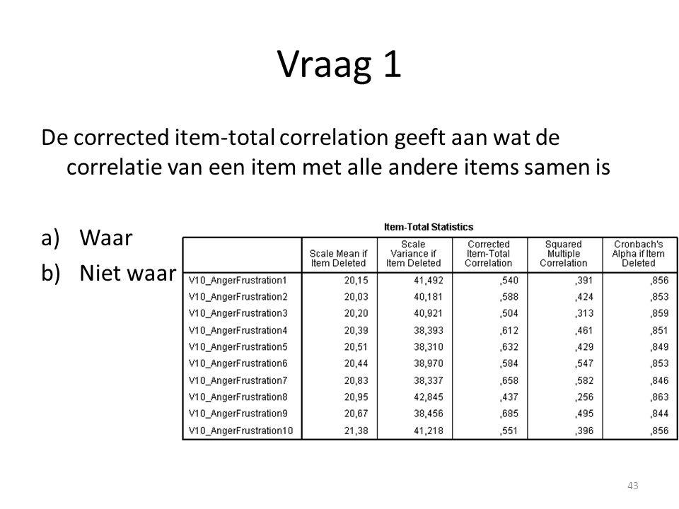 Vraag 1 De corrected item-total correlation geeft aan wat de correlatie van een item met alle andere items samen is.