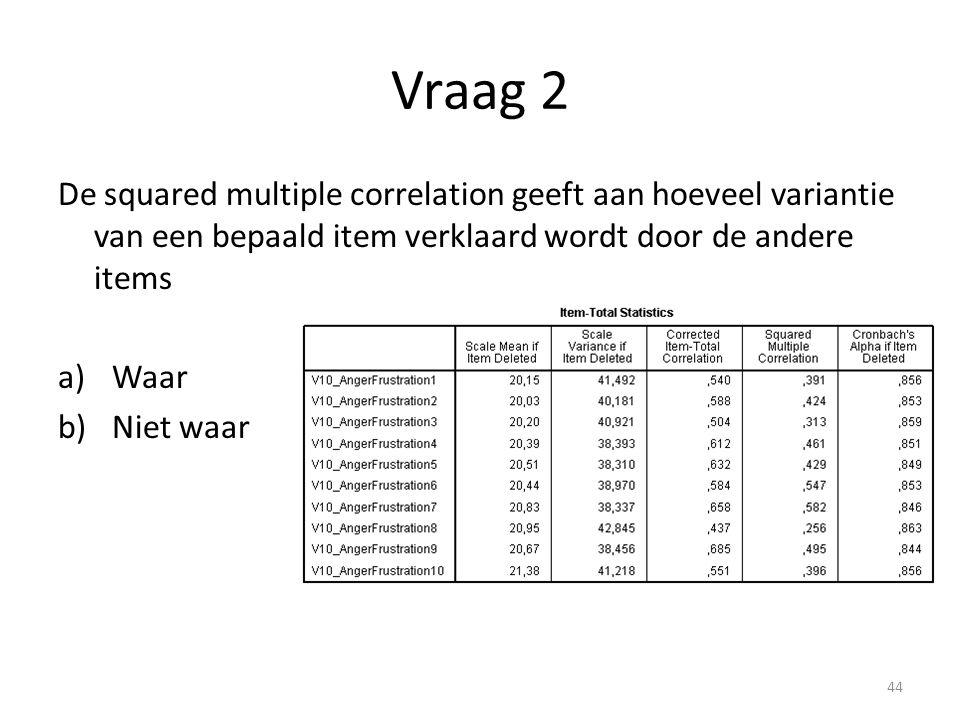 Vraag 2 De squared multiple correlation geeft aan hoeveel variantie van een bepaald item verklaard wordt door de andere items.