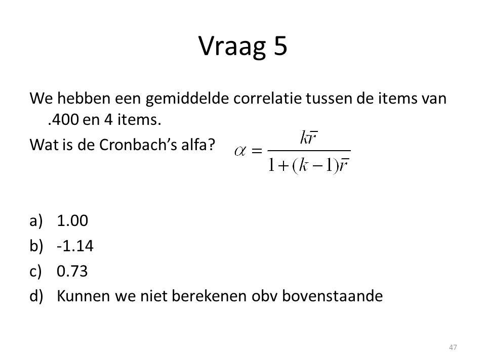 Vraag 5 We hebben een gemiddelde correlatie tussen de items van .400 en 4 items. Wat is de Cronbach's alfa