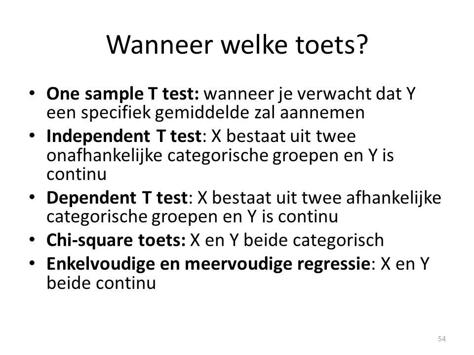 Wanneer welke toets One sample T test: wanneer je verwacht dat Y een specifiek gemiddelde zal aannemen.