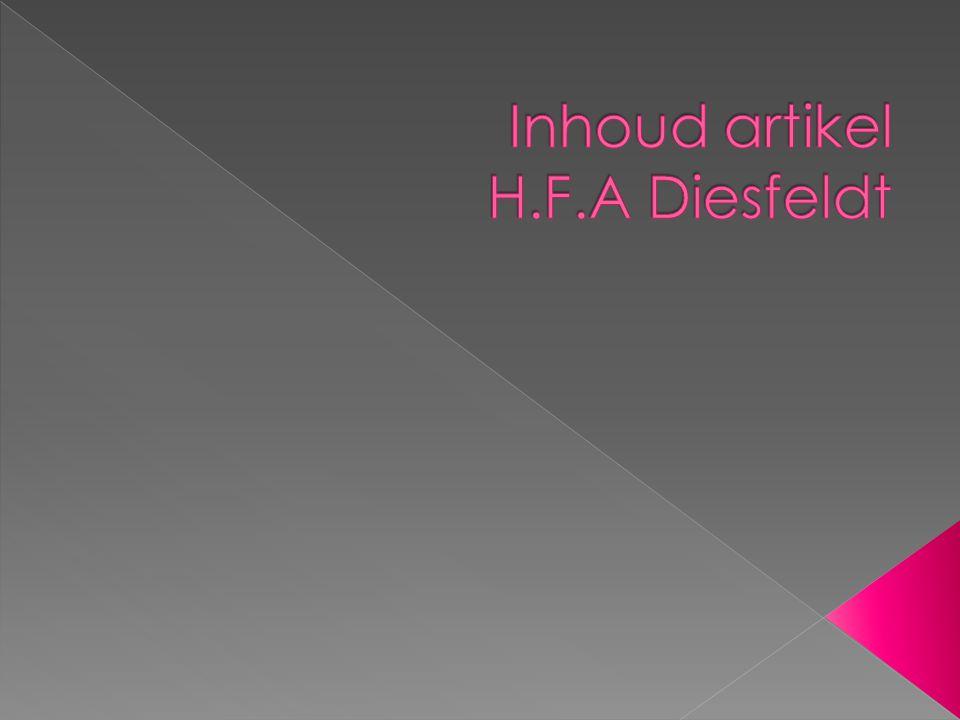Inhoud artikel H.F.A Diesfeldt
