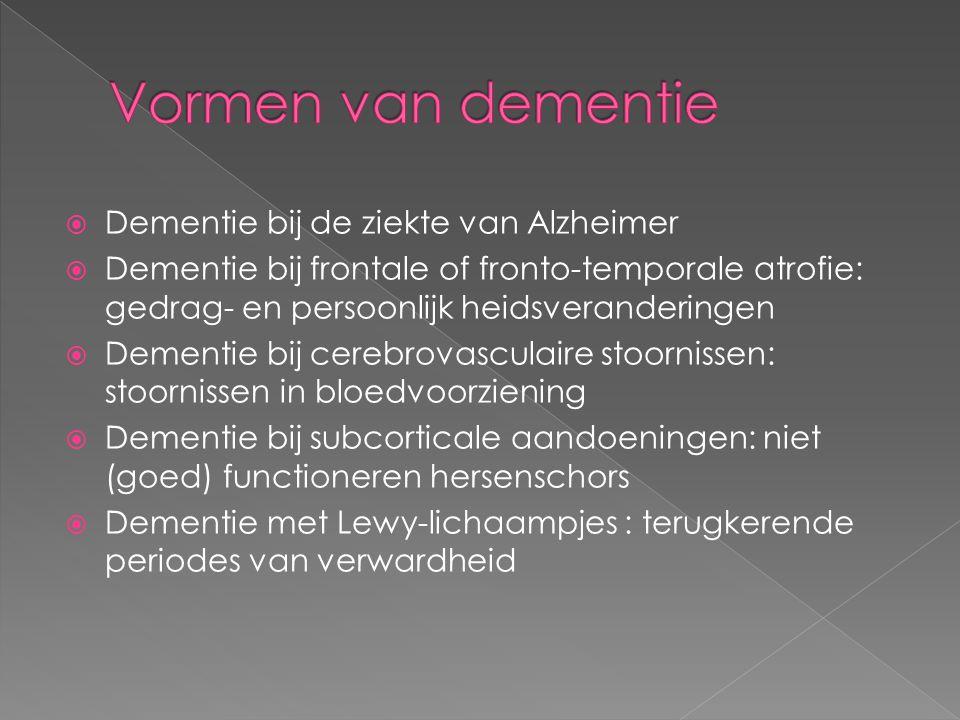 Vormen van dementie Dementie bij de ziekte van Alzheimer