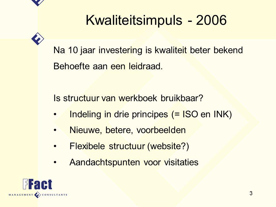 Kwaliteitsimpuls - 2006 Na 10 jaar investering is kwaliteit beter bekend. Behoefte aan een leidraad.
