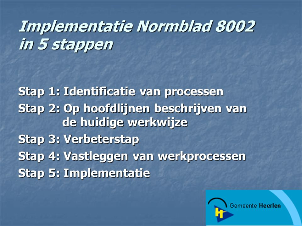 Implementatie Normblad 8002 in 5 stappen