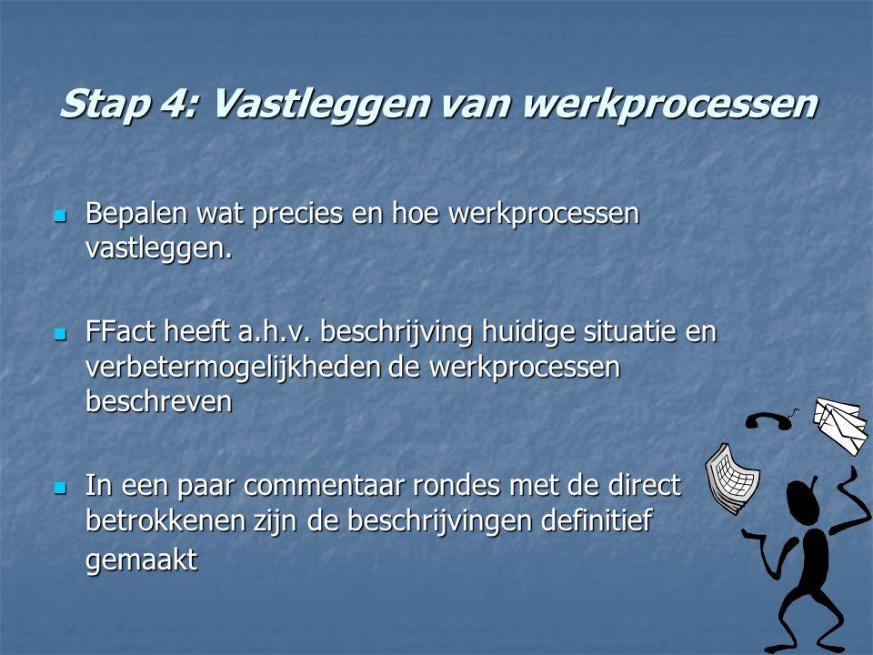 Stap 4: Vastleggen van werkprocessen