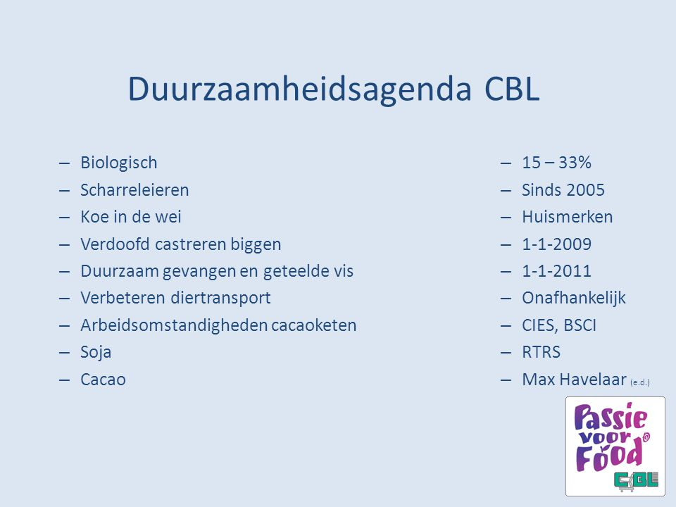 Duurzaamheidsagenda CBL