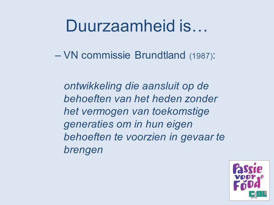 Duurzaamheid is… VN commissie Brundtland (1987):