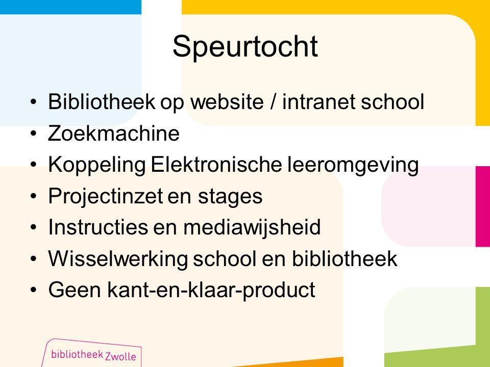 Speurtocht Bibliotheek op website / intranet school Zoekmachine