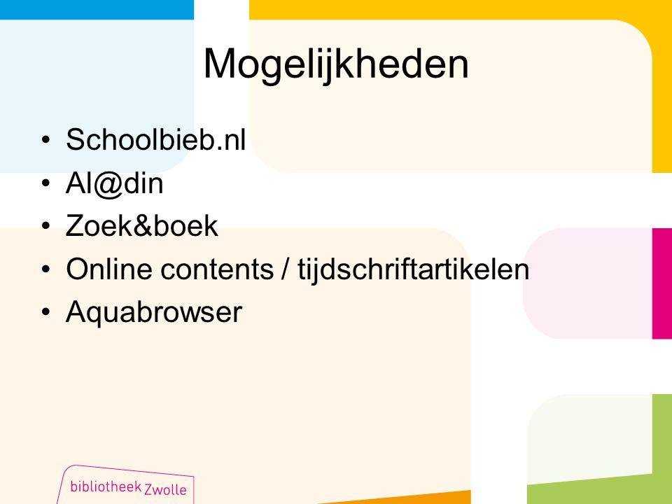 Mogelijkheden Schoolbieb.nl Al@din Zoek&boek