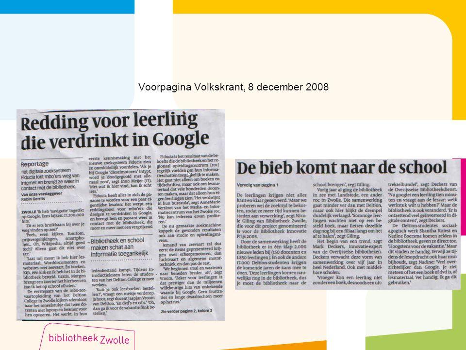 Voorpagina Volkskrant, 8 december 2008