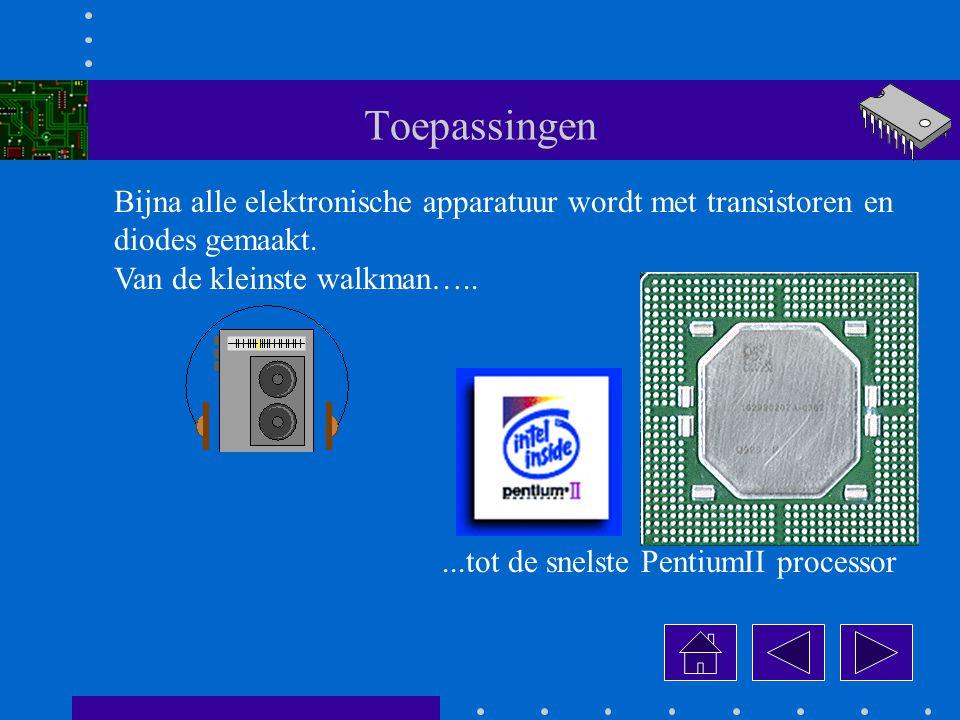 Toepassingen Bijna alle elektronische apparatuur wordt met transistoren en. diodes gemaakt. Van de kleinste walkman…..