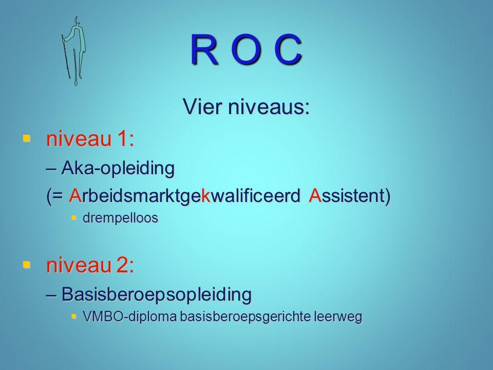 R O C Vier niveaus: niveau 1: niveau 2: Aka-opleiding