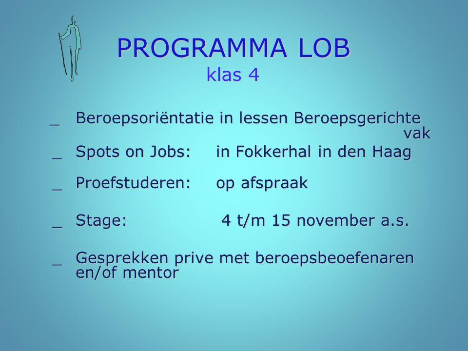 PROGRAMMA LOB klas 4 _ Spots on Jobs: in Fokkerhal in den Haag