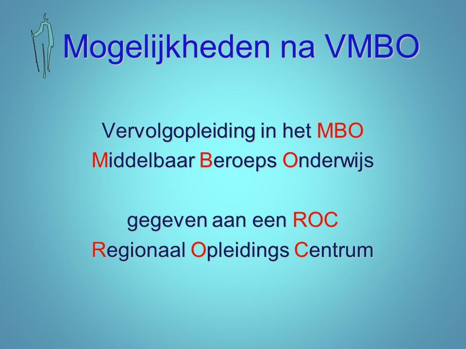 Mogelijkheden na VMBO Vervolgopleiding in het MBO