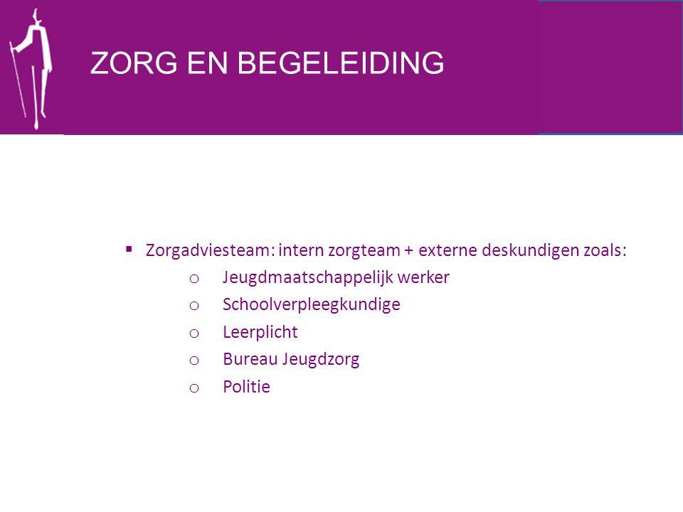 ZORG EN BEGELEIDING Zorgadviesteam: intern zorgteam + externe deskundigen zoals: Jeugdmaatschappelijk werker.