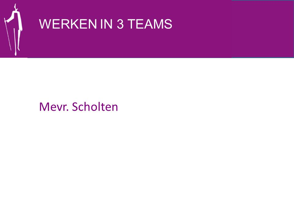 WERKEN IN 3 TEAMS Mevr. Scholten