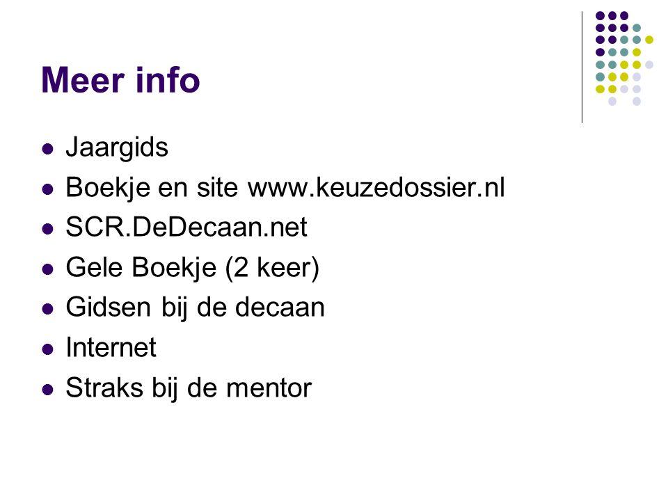 Meer info Jaargids Boekje en site www.keuzedossier.nl SCR.DeDecaan.net