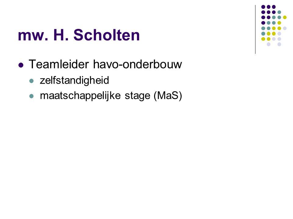 mw. H. Scholten Teamleider havo-onderbouw zelfstandigheid