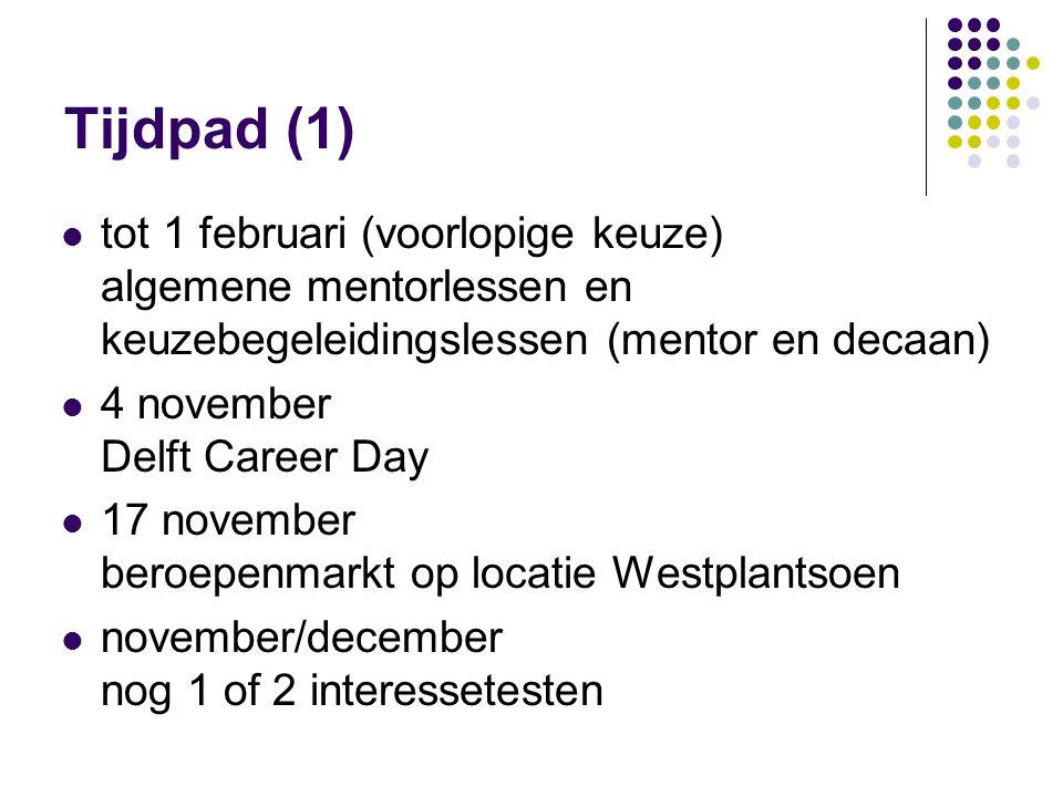 R. de Vreede 25 september 2008. Tijdpad (1) tot 1 februari (voorlopige keuze) algemene mentorlessen en keuzebegeleidingslessen (mentor en decaan)