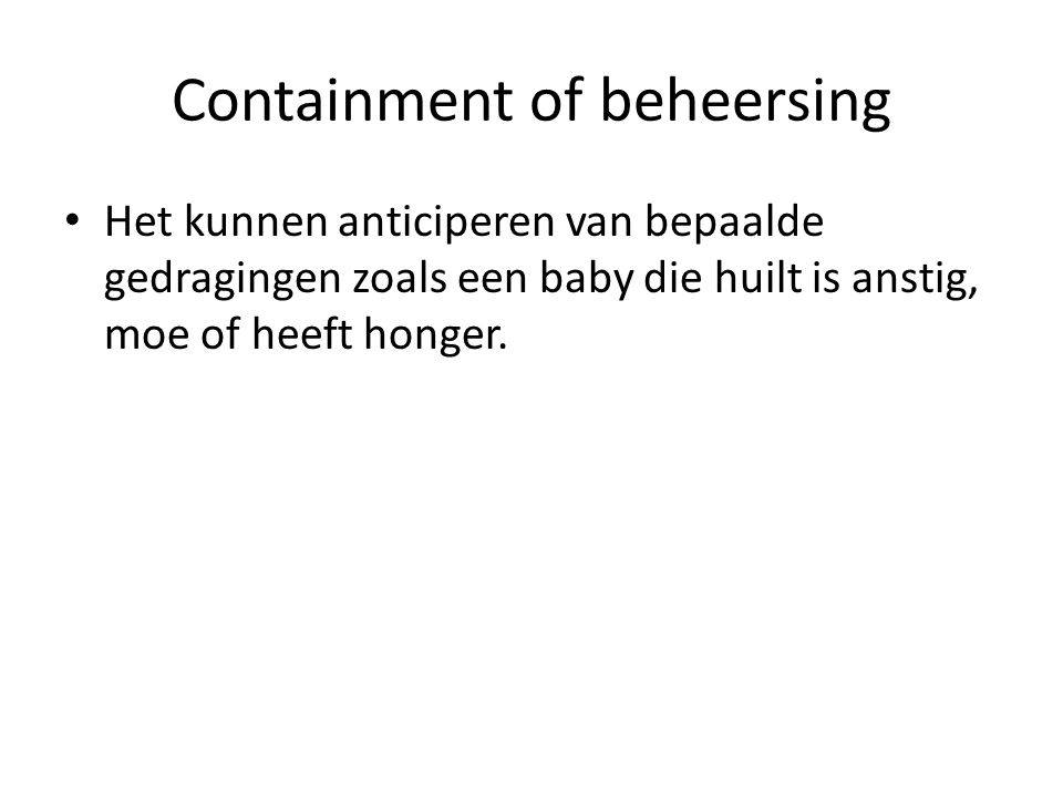 Containment of beheersing