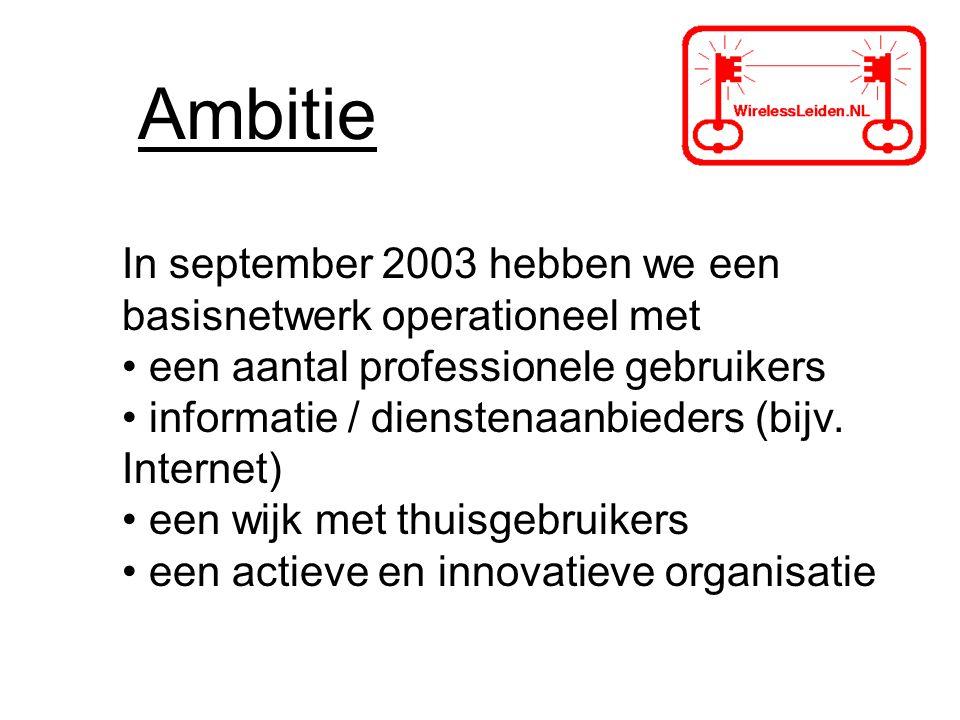 Ambitie In september 2003 hebben we een basisnetwerk operationeel met