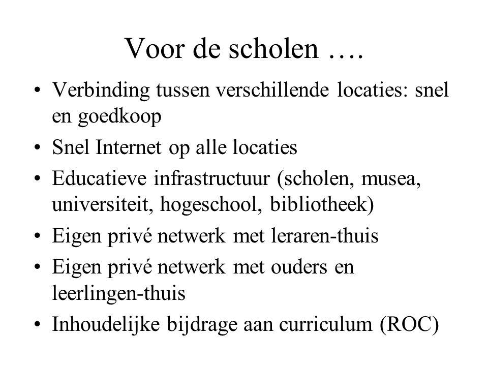 Voor de scholen …. Verbinding tussen verschillende locaties: snel en goedkoop. Snel Internet op alle locaties.