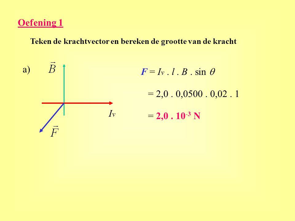 Oefening 1 a) F = Iv . l . B . sin q = 2,0 . 0,0500 . 0,02 . 1 Iv