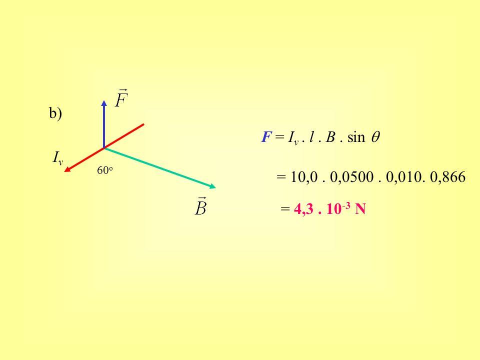 b) F = Iv . l . B . sin q Iv 60o = 10,0 . 0,0500 . 0,010. 0,866 = 4,3 . 10-3 N