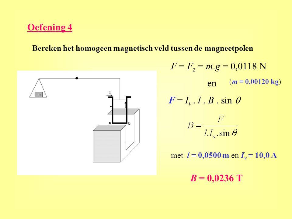 Oefening 4 F = Fz = m.g = 0,0118 N en F = Iv . l . B . sin q