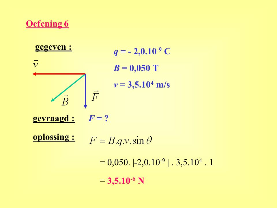 Oefening 6 gegeven : q = - 2,0.10-9 C. B = 0,050 T. v = 3,5.104 m/s. gevraagd : F = oplossing :
