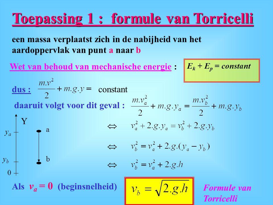 Toepassing 1 : formule van Torricelli