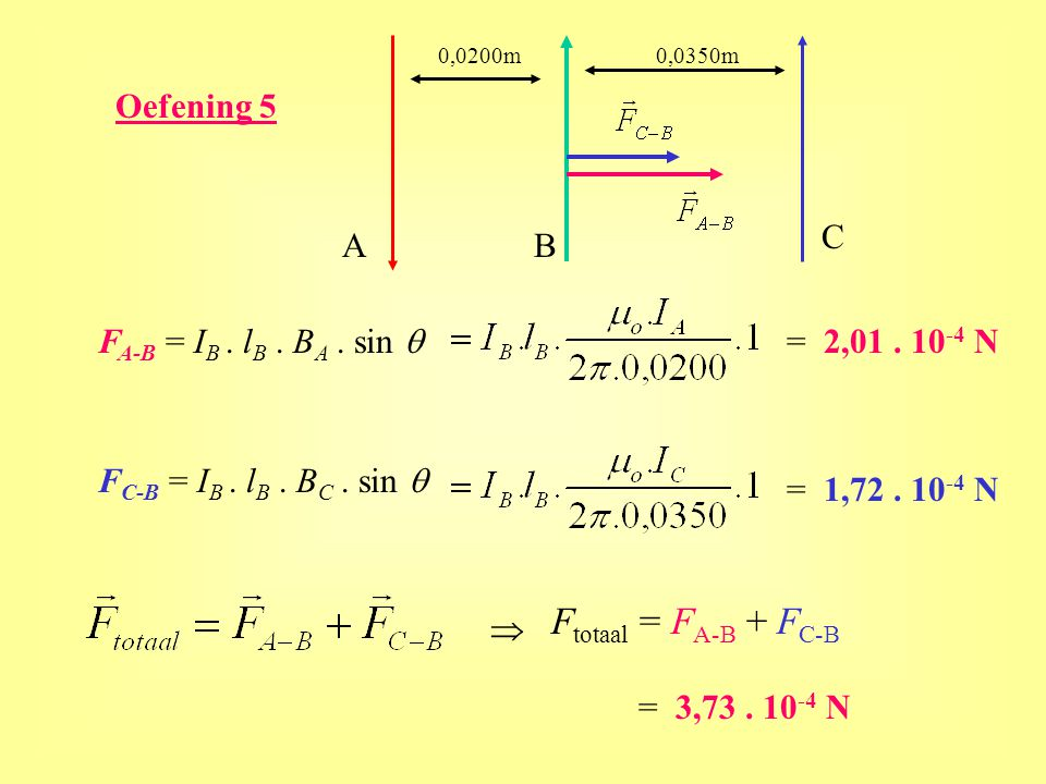 Ftotaal = FA-B + FC-B Oefening 5 C A B FA-B = IB . lB . BA . sin q