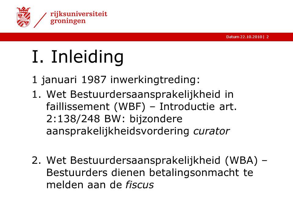 I. Inleiding 1 januari 1987 inwerkingtreding: