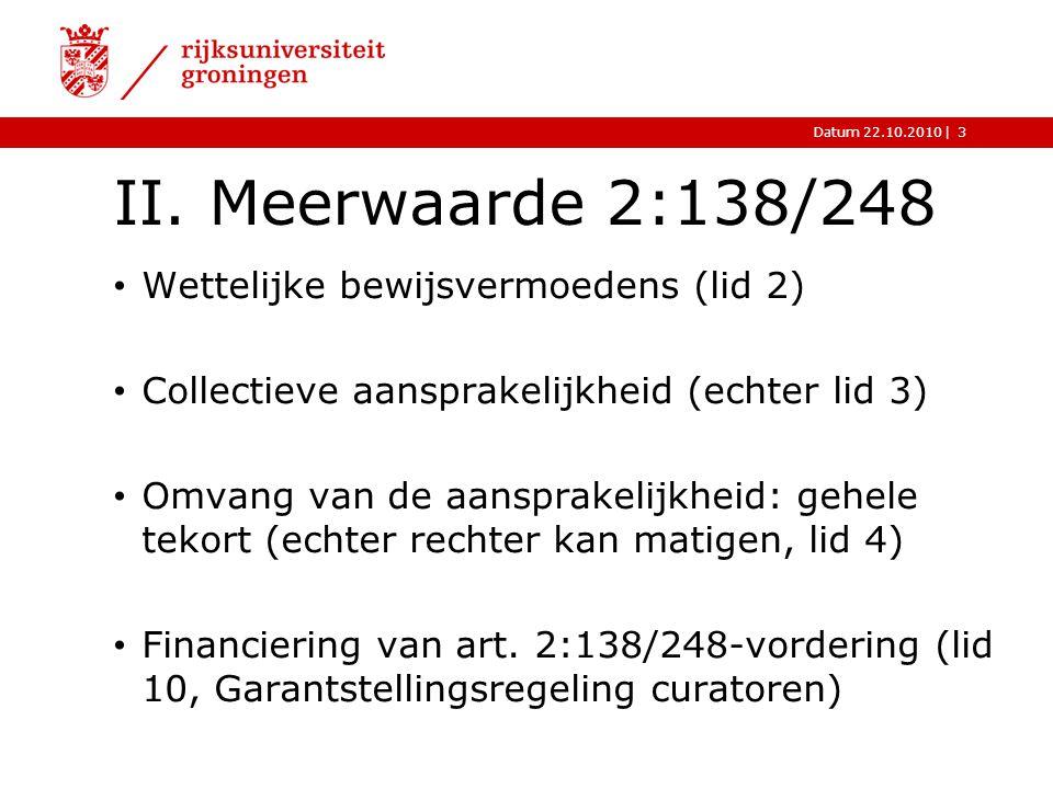 II. Meerwaarde 2:138/248 Wettelijke bewijsvermoedens (lid 2)