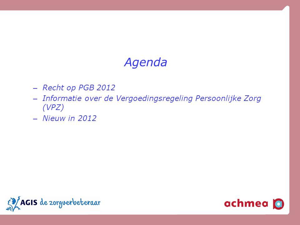 Agenda Recht op PGB 2012.