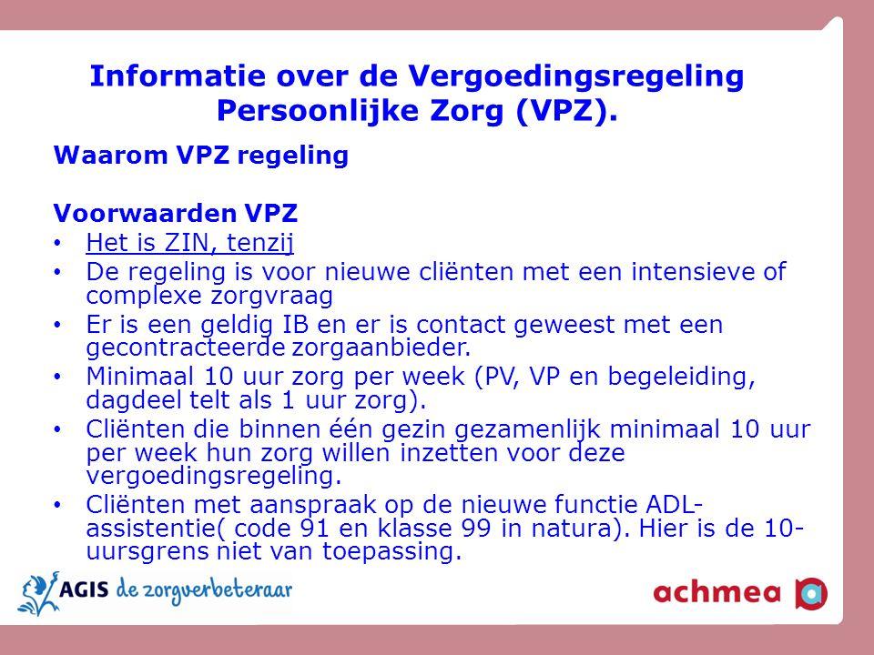 Informatie over de Vergoedingsregeling Persoonlijke Zorg (VPZ).