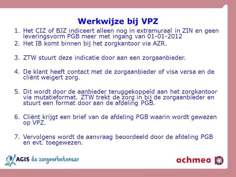 Werkwijze bij VPZ Het CIZ of BJZ indiceert alleen nog in extramuraal in ZIN en geen leveringsvorm PGB meer met ingang van 01-01-2012.
