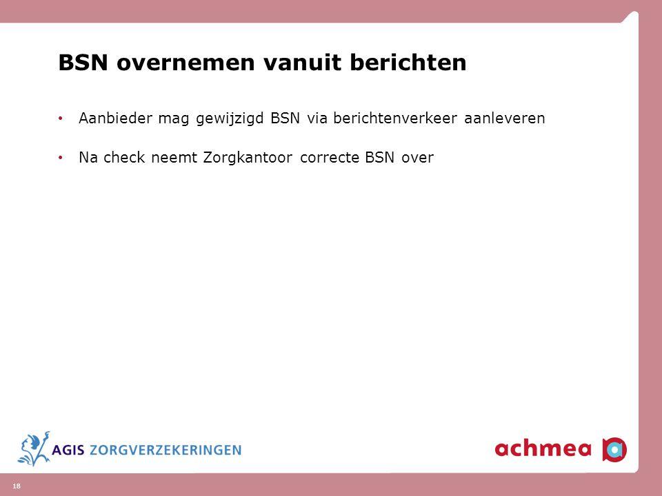 BSN overnemen vanuit berichten