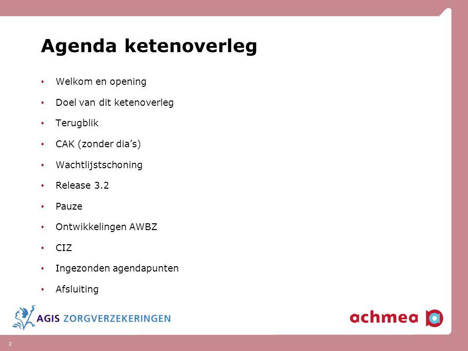 Agenda ketenoverleg Welkom en opening Doel van dit ketenoverleg